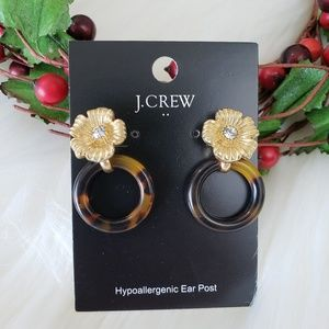 J. Crew Resin Acrylic Gold Floral Earrings